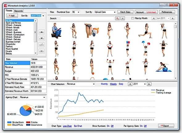 Screenshot of MicrostockAnalytics