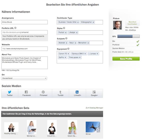 Mein Shutterstock Profil